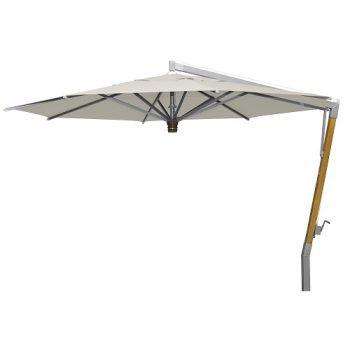 Borek - Capri teak-zilver parasol ø400 - sunbrella ecru | Bogarden Buitenmeubilair