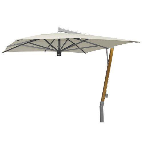 Borek - Capri teak-zilver parasol 300x400 - sunbrella ecru | Bogarden Buitenmeubilair