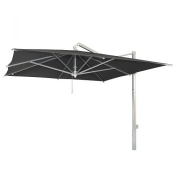 Borek - Rodi zilver parasol 350x350 - sunbrella zwart | Bogarden Buitenmeubilair